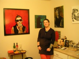 Kim McCarthy in her studio for the White Center Open Studio Tour