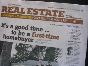 """The Seattle Times"" article ""'Jumbo' Mortgage Market Reviving"" March 22, 2009"