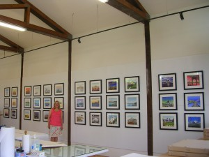 "Kristina Hagman with her ""36 Views of Mt Rainier"" woodblock prints at Sideral Press"