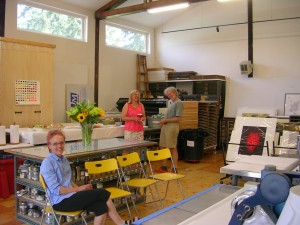 Sheila, Kristina and Rick at Sideral Press for an Open Studio Reception for Kristina Hagman